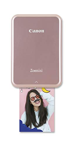 Canon Zoemini (Mini-Fotodrucker, Fotos im Format 5 x 7,5 cm, 160g, Bluetooth 4.0, eingebauter Akku, bis zu 10 Blatt Canon Fotopapier) Rosegold