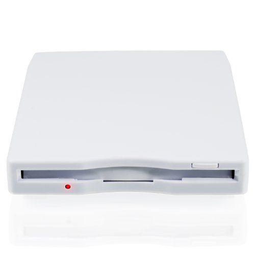 CSL - Externes USB Diskettenlaufwerk FDD 1,44MB (3,5')   PC & MAC   Slimline Floppy Disk Drive Extern   portable   plug & play   in weiß   Windows 10 fähig