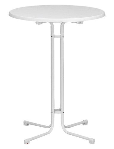 MFG 401470 Stehbiertisch / Stahlrohrgestell weiß, leicht mamoriert, TUV-Sevelitplatte / Ø 70 x 110 cm klappbar