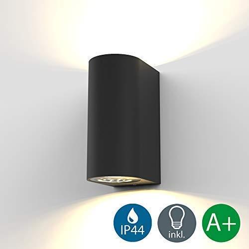 B.K.Licht LED Wandleuchte Außenwandleuchte inkl. 2x 5W GU10 Leuchtmittel Außenleuchte Außenlampe Wandlampe für Innen und Außen schwarz IP44