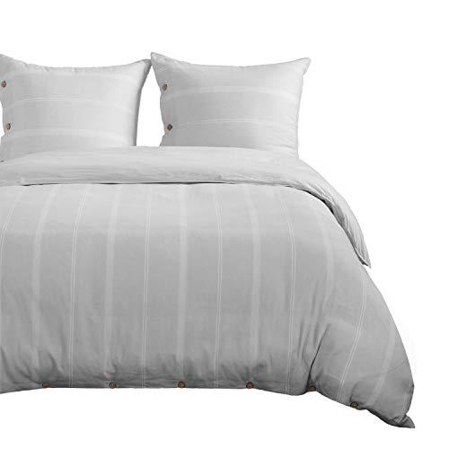 Bedsure Leinenbettwäsche 135x200cm aus 55% Leinen und 45% Baumwolle Grau mit Knopfverschluss - Atmungsaktiver 2 Teilig Bettwäscheset mit 80x80cm Kissenbezug