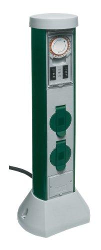 REV Ritter 0068206251 GreenCraft Zeitschaltuhr mit 2-fach Steckdose  Außenbereich  Steckdosensäule  Gartensteckdose  2 spritzwassergeschützte Schutzkontaktsteckdosen  grau grün