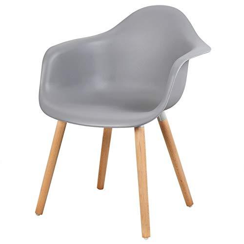 eSituro SDC0015-1 1 x Esszimmerstuhl Küchenstuhl Wohnzimmerstuhl, aus Kunststoff und Holz, mit Rückenlehne und Armlehne, Grau
