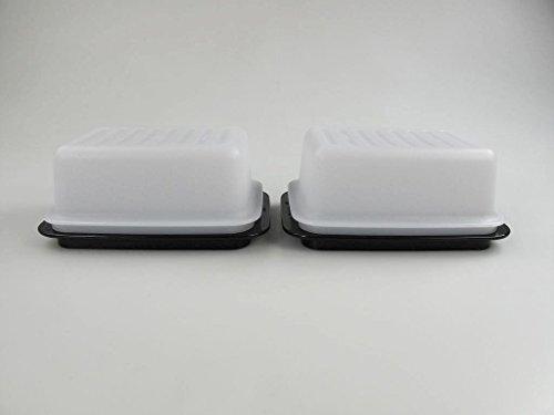TUPPERWARE Butterdose Butterschatz weiß schwarz (2) C21 Butter Kühlschrank Dose 30931