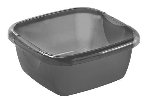 Rotho 1782308812 Becken Daily quadratisch, Spülwanne aus Kunststoff (PP) in Anthrazit, Inhalt 5 L, circa' 29 x 29 x 12 cm Kunststoffwanne, Plastik