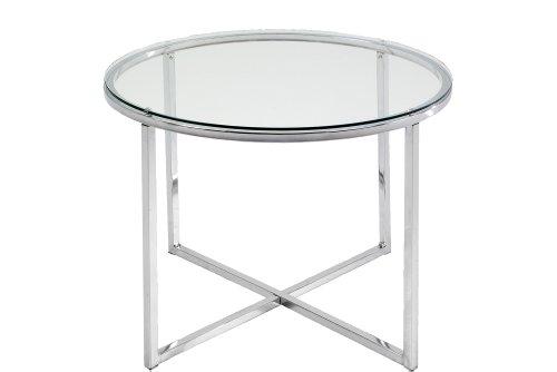 AC Design Furniture 0426862046 Beistelltischisch Gurli, klarglas 5 mm, 70 x 75 cm, Gestell Metall verchromt