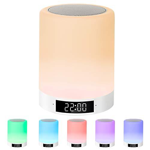 Nachttischlampe mit Bluetooth Lautsprecher, Macrimo LED Nachtlampe Nachttischleuchte Stimmungslicht mit Touch Sensor/Wecker/Uhr/FM/TF Karte Slot,7 Farbwechsel dimmbar für Schlafzimmer Kinder