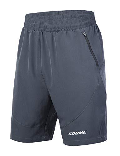 Souke Sports Herren Laufshorts Schnelltrocknend 2 in 1 Shorts Atmungsaktiv Trainingsshorts mit Reißverschlusstaschen