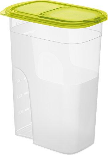 Rotho Schüttdose 'Sunshine' aus Kunststoff (PP), klein - Inhalt 2.2 L, Dose mit Deckel und Verschlussklappe zum Schütten - BPA- und schadstofffrei - transparent/grün, ca. 20.3x13.5x16 cm (LxBxH)