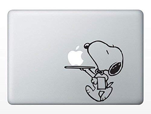 MacDecalDE Snoopy Butler Service Peanuts kompatibel mit/Ersatz für Apple MacBook Air Pro Aufkleber Sticker Skin Decal