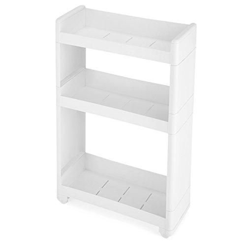 SONGMICS Nischenwagen schmal in weiß mit 3 Ablagefächern Nischenschrank mit Rollen für Küche Bad Keller 17 cm breit KFR09WT