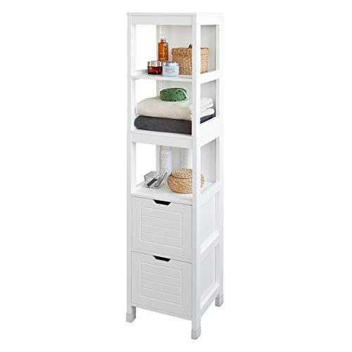 SoBuy FRG126-W Hochschrank für Bad Badregal mit Fußpolster Badezimmer Badmöbel weiß
