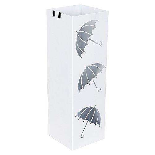 Songmics Regenschirmständer Schirmständer mit Wasserauffangschale Haken für Regenschirm, Gehstock, Geschenkpapierständer,15,5 x 15,5 x 49 cm weiß LUC26W