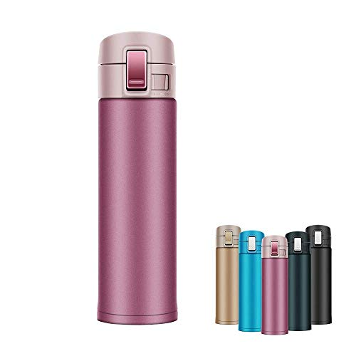 Newdora Thermosflasche 500ML Edelstahl doppelwandiger Vakuum-isolierter Thermokanne Reise Büro Tee Kaffee Tasse Becher Flasche Isolierflasche