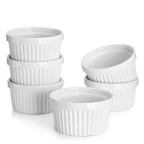 Sweese 5105 6er-Set Soufflé Souffle Förmchen Pastetenform Näpfchen Auflaufförmchen aus Porzellan, 10 cm Ø / 5,2 cm Höhe, für Fondants, Creme Brûlée oder Muffins