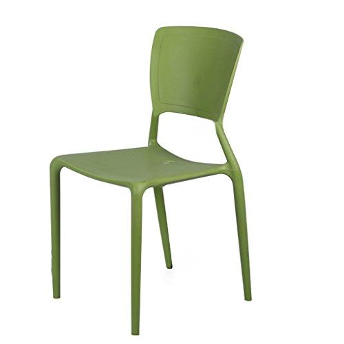PLL Rückenlehne Stuhl Nordic Minimalist Cafeteria Hocker Besprechungstisch und Stuhl Verdickung Kunststoff Stühle (Color : Green)