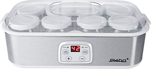 Steba JM 3 Joghurtmaker | 8 Glas-Joghurtbecher mit Deckel à 180 ml | 1,4 Liter Gesamtvolumen | Temperatur einstellbar 20-55 °C | Timer 1-48 Std. | LCD-Display