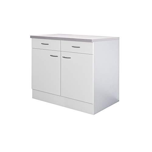 Flex-Well Küchenschrank UNNA | Unterschrank | 2-türig, 2 Schubladen | Breite 100 cm | Weiß