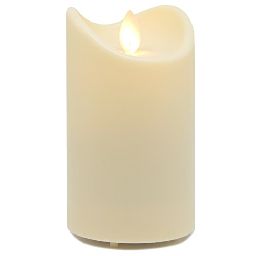Tronje LED Outdoor-Kerze 13cm Weiß Timer Kunstharz bewegliche Flamme IP44 Spritzwasser geschützt UV- und Hitzebeständig
