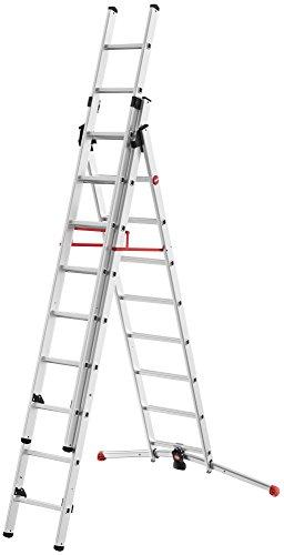 Hailo ProfiLOT, 3-teilige Alu-Kombileiter, 2x9+1x8 Sprossen, LOT-System, Treppenverstellung, Transportsicherung, bis 150 kg, made in Germany, 9309-507