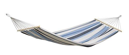 AMAZONAS Stabhängematte Samba Marine wetterfest und UV-beständig 210cm x 140cm bis 150kg blaugestreift