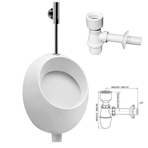 VBChome- Set: Urinal Zulauf Oben Weiß Modern Hochwertig Keramik Pinkelbecken senkrecht Pissoir Pico + Siphon Flaschensiphon A50132