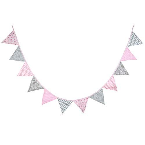 Oblique Unique Bunte Wimpel Girlande Baumwolle Wimpelkette Doppelseitig Farbenfroh Drinnen & Draußen - Motiv wählbar (Rosa-Grau)