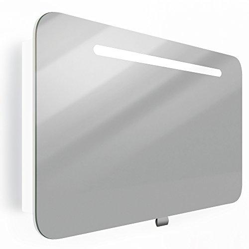 Spiegelschrank LED Weiß Hochglanz Badschrank Badspiegel Spiegel (90cm)