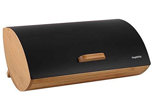 Konighoffer Brotbox Brotkasten Brotkiste Holz Edelstahl Brotkorb COSMICO schwarz