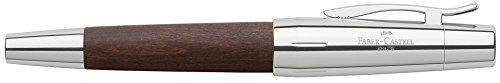 Faber-Castell 148210 - Füllfederhalter e-motion Holz/Chrom, Feder: M, inklusive Geschenkverpackung, Schaftfarbe: dunkelbraun/silber