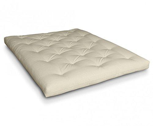 Futon Naoko Baumwollfuton Futonmatratze mit 6x Baumwolle von Futononline, Größe:140 x 200 cm, Color Futon SE Amazon:Natur/Filz weiß