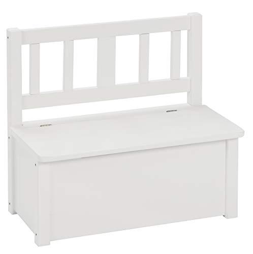 BOMI Truhenbank für Kinder aus Kiefer Massiv Holz   Kleinkinder Zimmer Möbel   Kindermöbel ab 2 jahren in Weiß