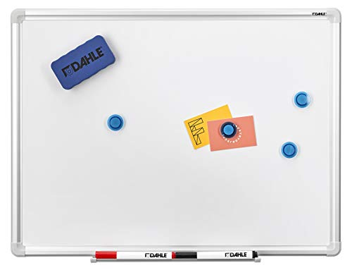 Dahle Basic Whiteboard (Beschreibbare Magnettafel in stabilem Alurahmen, 45 x 60 cm)