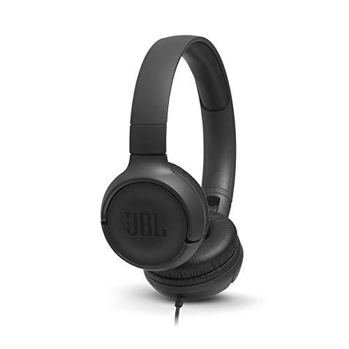 JBL Tune500 On-Ear Kopfhörer mit Kabel in Schwarz – Ohrhörer mit 1-Tasten-Fernbedienung, integriertem Mikrofon & Sprachassistent – Telefonieren und Musik hören unterwegs