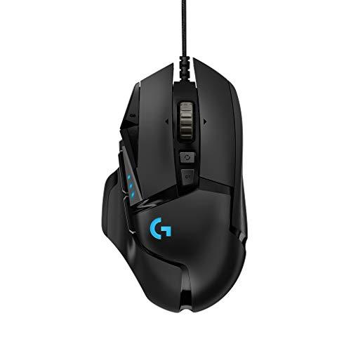 Logitech G502 HERO Gaming-Maus (mit HERO Sensor, RGB, 16.000 DPI, 11 programmierbare Tasten, Laptop- und PC-Computermaus, 5 anpassbare Gewichte, Balance-Tuning, Deutsche-Verpackung) schwarz