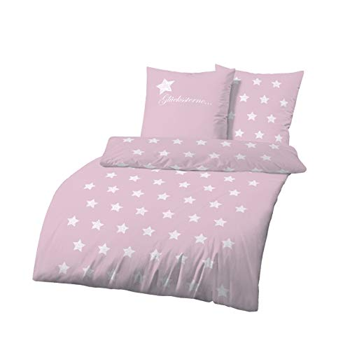 Dobnig Biber Bettwäsche 135x200 2tlg | Glückssterne Bettwäsche Rosa mit Sternen | Bettwäsche Sterne | Bettbezug 135x200 cm & Kissenbezug 80x80 Set