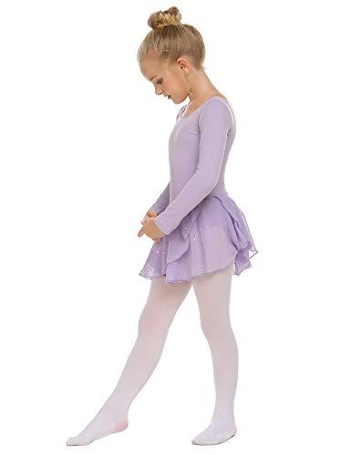 Trudge Mädchen Ballettkleidung Ballettkleid Kinder Langarm Baumwolle Balletttrikot Ballettanzug Tanzkleid Tanzbody mit Rock Tütü, A Lila, 120 / 3-4 Jahre