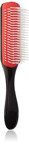 Denman Haarbürste D3, schwarzer Griff, rotes Gummikissen, 7-reihig