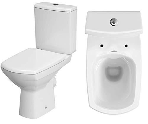 Keramik Stand- WC Toilette Komplett -Design- Set mit Spülkasten WC- Sitz aus Duroplast mit Absenkautomatik SoftClose-Funktion für waagerechten Abgang Wasseranschluss Spülrandlos Carina