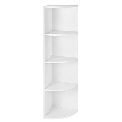 SONGMCS 4 Ebenen Eckregal, Standregal, Bücherregal aus Holz, für Küche, Schlafzimmer, Wohnzimmer, Büro, weiß, LBC42WT