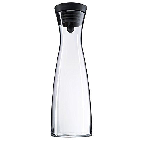WMF Basic Wasserkaraffe, 1,5l, Höhe 32,7 cm, Glaskaraffe Karaffe CloseUp-Verschluss, schwarz, Glas Cromargan Edelstahl rostfrei