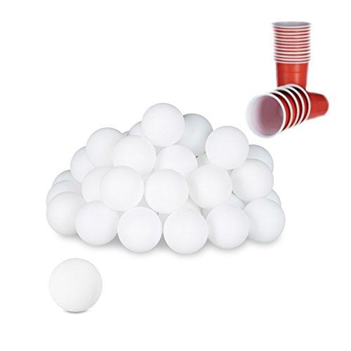 Relaxdays Beer Pong Bälle, 48 St, Tischtennisbälle, Trinkspiel, Ping Pong Bälle, ohne Aufdruck, 38mm, Kunststoff, weiß