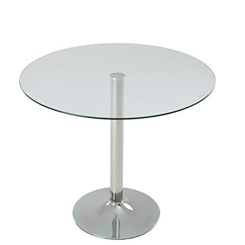 IHD Esstisch Glas rund, Retro-Design, Tischbeine Metall verchromt, Tischplatte aus Sicherheitsglas