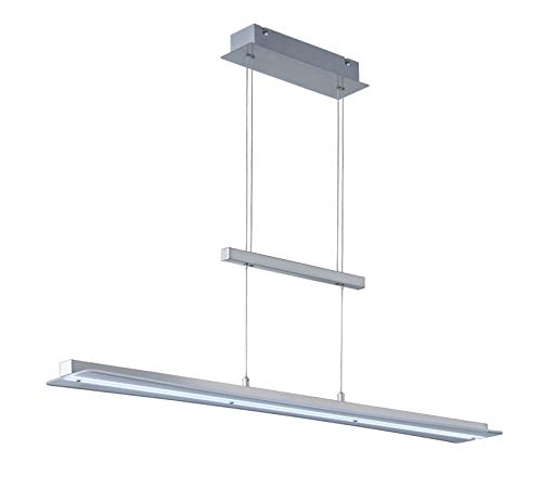 Reality Leuchten Smash R32421107 LED Pendelleuchte, Nickel Matt, Glas Weiß, 18 Watt