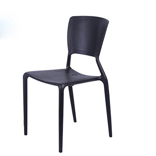 C&S Rückenlehne Stuhl Nordic Minimalist Cafeteria Hocker Besprechungstisch und Stuhl Verdickung Kunststoff Stühle (Color : Black)