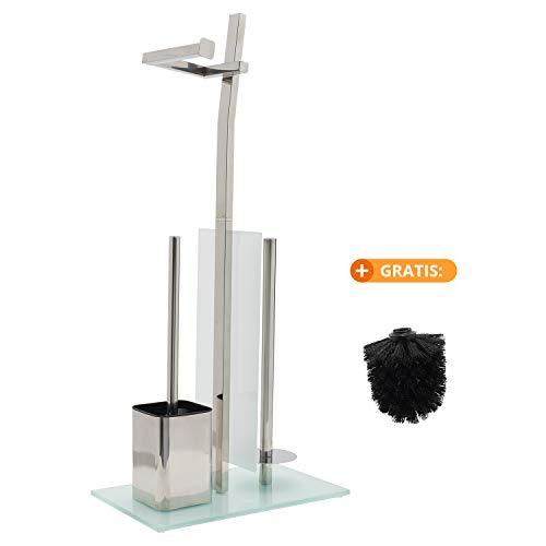 smartpeas WC-Garnitur mit Rollenhalter – Toilettenpapierhalter aus verchromtem Edelstahl – Fuß aus Glas – Maße: 32 x 20 x 70 cm – Einfache Montage – Klobürste zum Austauschen gratis!