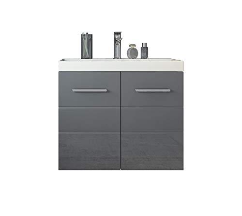 Badezimmer Badmöbel Toledo 01 60 x 35 cm Hochglanz Grau - Unterschrank Schrank Waschbecken Waschtisch