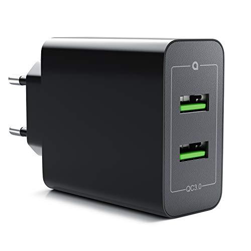 CSL - 36W Ladegerät 2 Port Quick Charge 3.0 | USB Netzteil 6000 mA insgesamt | Schnellladefunktion | Smart Charge + Solid Charge | für iPhone iPad Samsung Galaxy Nexus HTC Motorola LG UVM