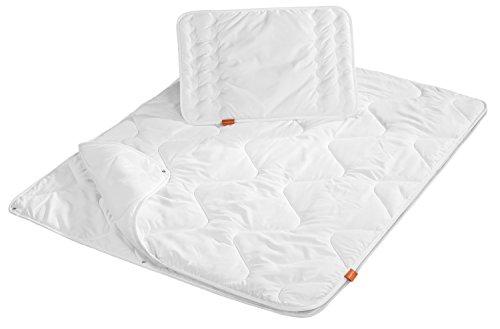 sleepling 194479 Babybetten Set 4-Jahreszeiten Decke 100 x 135 cm und Kopfkissen 40 x 60 cm, weiß