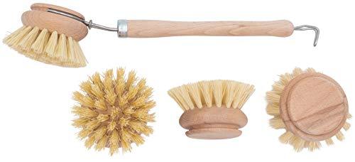 4er Set Spülbürste aus Holz inkl. Wechselkopf Ersatzkopf mit Naturborsten aus Fibre Holzspülbürste für Küche und Haushalt das perfekte SET sofort einsatzbereit